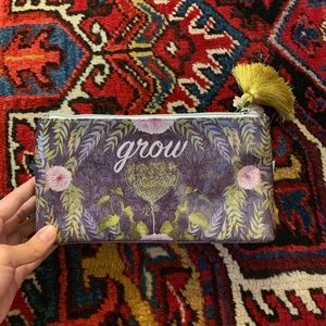 "Floral ""Grow"" Makeup Pouch - Small - 4.5""x9"""